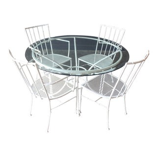 Modern White Faux Bamboo Patio Set - 5 Pieces For Sale