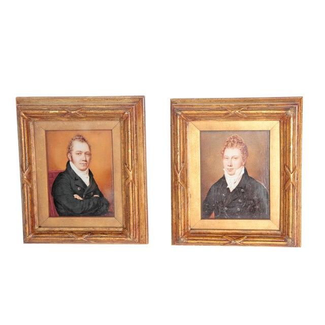 Pair of Well-Painted Portrait Miniatures / Handsome English Regency Gentlemen For Sale