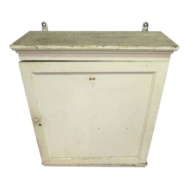 Antique White Wooden Key Hanging Cabinet Box For Sale
