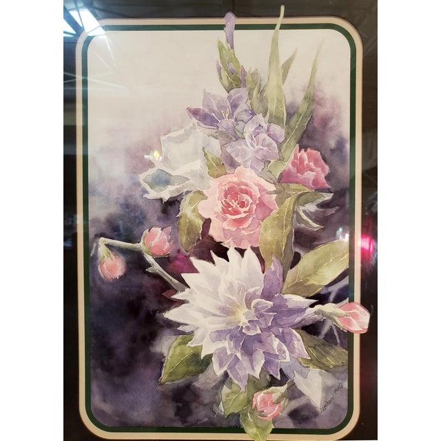 Mid-Century Modern Vintage 1980's Framed Floral Watercolor Print For Sale - Image 3 of 7