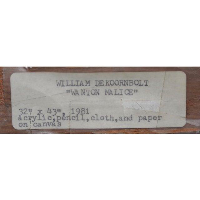 "William DeKoornbolt ""Wonton Malice"" Original Mixed Media Abstract Painting C.1981 For Sale - Image 10 of 11"