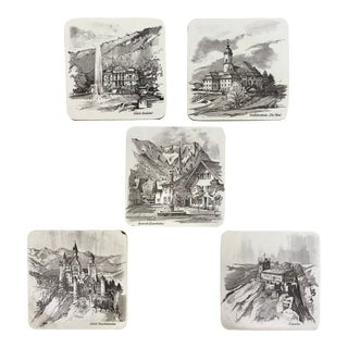 Traditional German Castles & Monuments Coasters - Set of 5 For Sale