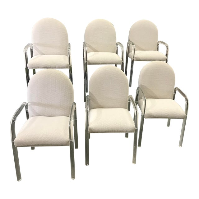 1970s Vintage Lucite Dining Chairs- Set of 6 For Sale