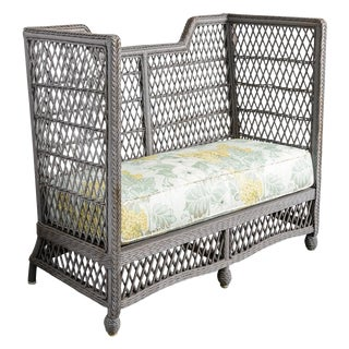 Vintage High Back Wicker Loveseat/Settee in Grey For Sale