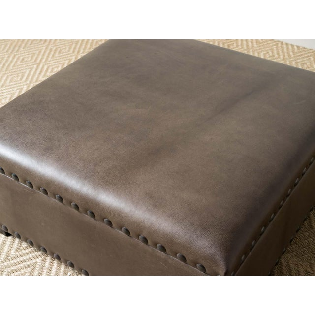 Modern Finneas Leather Ottoman For Sale - Image 6 of 7