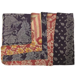 Metallic Silver on Purple Vintage Kantha Quilt For Sale