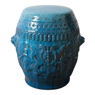 Chinese Turquoise Ceramic Garden Stool For Sale