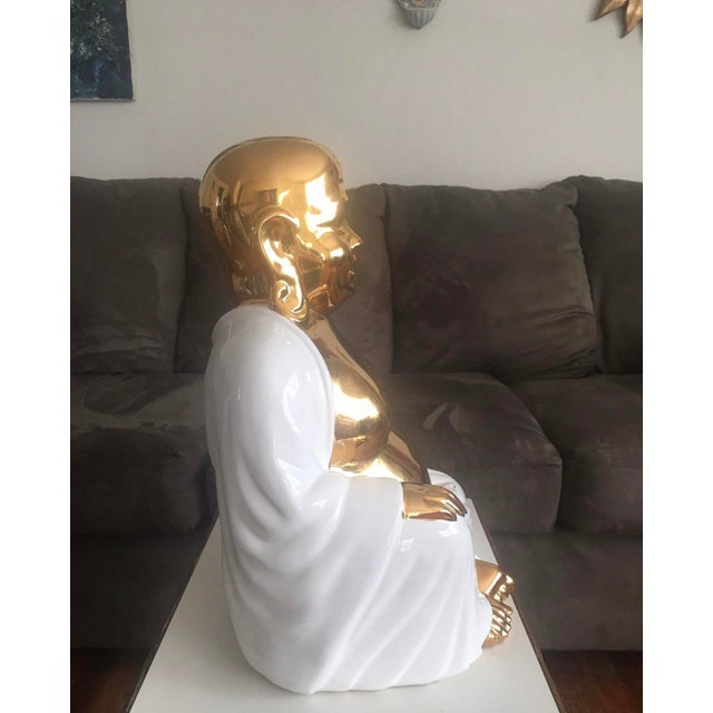 Metal Large Italian Gold& White Buddha Statue For Sale - Image 7 of 8