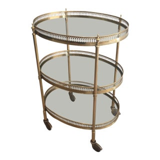 French Neoclassical Oval Brass Trolley Bar Cart by Maison Jansen