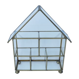 Vintage Brass & Glass House Shaped Curio Display Shelf, Shadow Trinket Box, Knick Knack Shelf, Miniature Compartment Case, Brass Frame Case For Sale