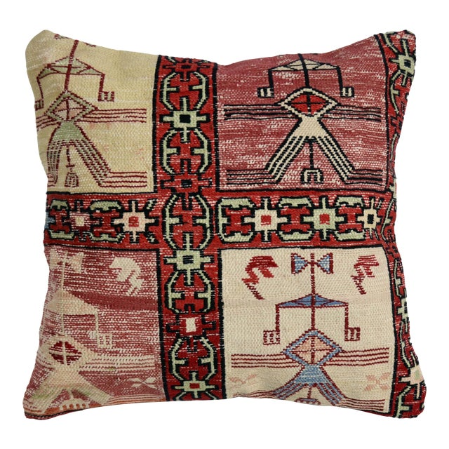 Hand Woven Silk Kilim Rug Pillow Cover - Image 1 of 5