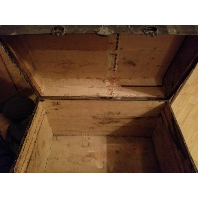 Antique Beveled Top, Wood Slatted Metal Trunk - Image 3 of 8