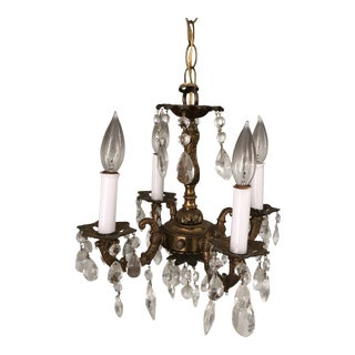 Small Antique Bronze and Crystal Chandelier For Sale