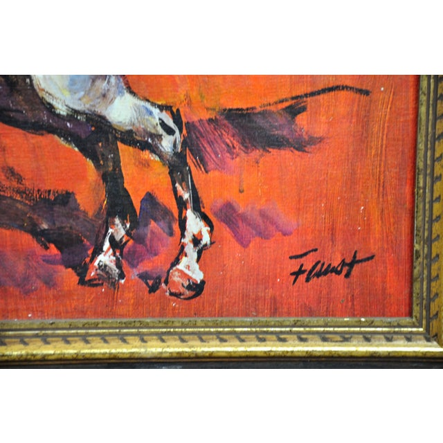 Vintage Retro 70s Baroque Framed Boots Print Horses on Red by H Faust For Sale - Image 9 of 13