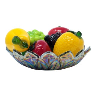 Italian Murano Glass Fruit With Carnival Glass Bowl - Set of 8 For Sale