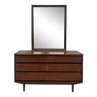 Mid Century Modern Six Drawer Dresser With Mirror by Stanley For Sale
