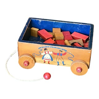 Vintage Scandia Toys Wood Pull Wagon Toy With Wood Blocks For Sale