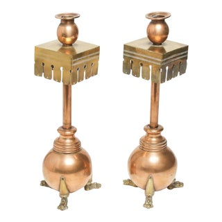 Aesthetic Movement Mixed Metal Candlesticks - a Pair For Sale
