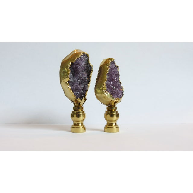 Amethyst Cluster Lamp Finials - A Pair - Image 3 of 3