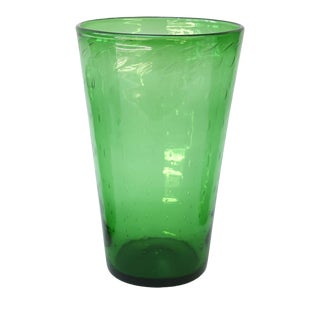 Italian Green Glass Vase by Empoli For Sale