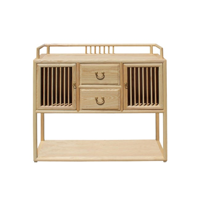 Chinese Raw Wood Open Display Storage Side Table Cabinet For Sale
