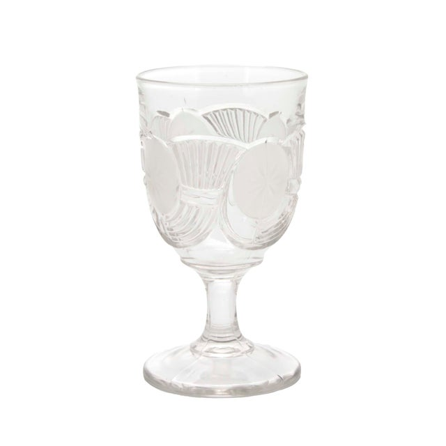 Rare set of Victorian circa 1890s frosted and star-etched blown crystal goblets by the Bryce Brothers Company originating...