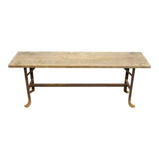 Early 20th Century Industrial Wood Slat Steel Metal Work Bench For Sale