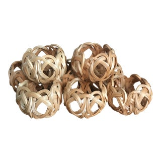 8 Bamboo Woven Napkin Rings For Sale