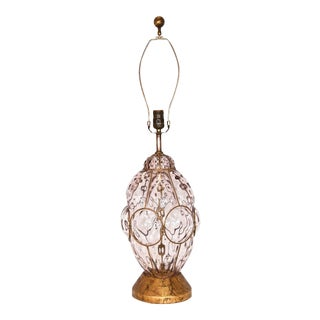 A - Frederick Cooper Murano Caged Glass Lamp For Sale