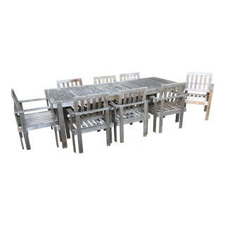 Williams Sonoma Outdoor Extendable Teak Dining Set For Sale