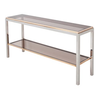 Willy Rizzo Two-Tier Console Table in Chrome and Brass Linea Flaminia For Sale