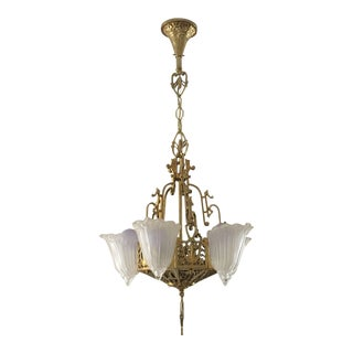 20th Century Traditional Style Brass Chandelier
