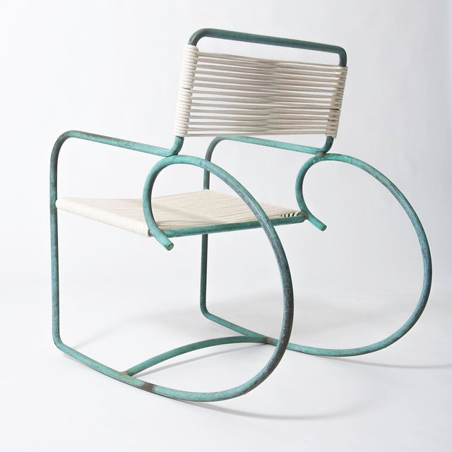 Single Walter Lamb Bronze and Rope Patio Rocking Chair - Image 4 of 5