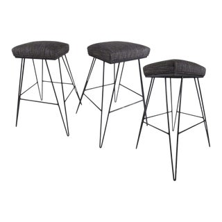 Set of Midcentury Hairpin Barstools For Sale