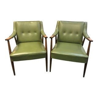 Vintage Mid Century Modern Original Avocado Green Leatherette Arm Chairs - a Pair For Sale