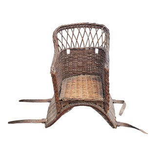 Early 19th Century Child's Wicker Basket Saddle For Sale