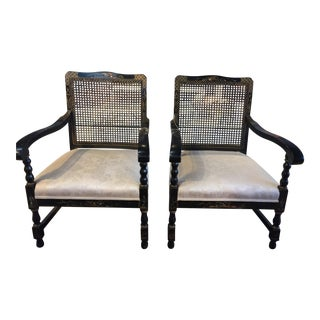 Vintage Asian Cane Back Chairs - A Pair For Sale