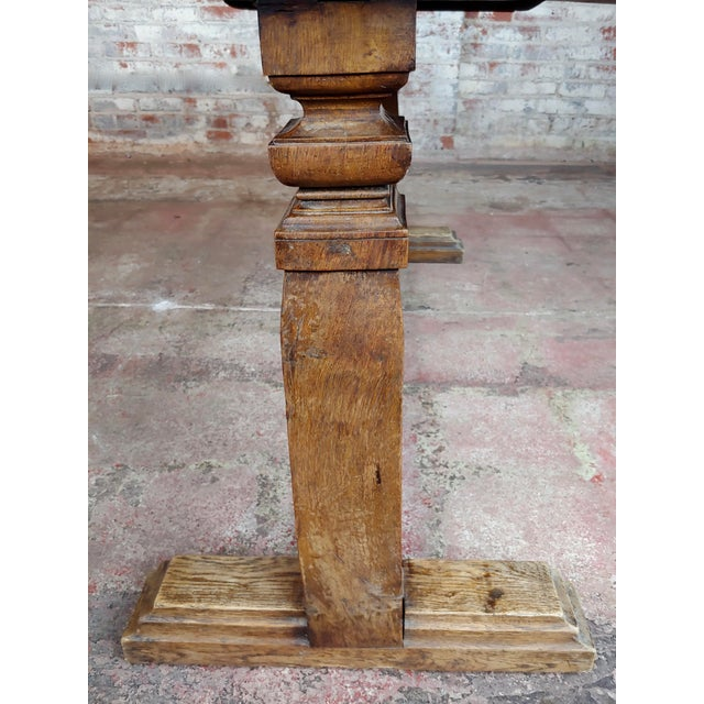 19th Century Farmhouse Trestle Dining Oak Table For Sale - Image 9 of 10