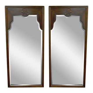 Pair of Vintage 49 X 23 Drexel Oriental Asian James Mont Ming Style Wall Mirrors For Sale