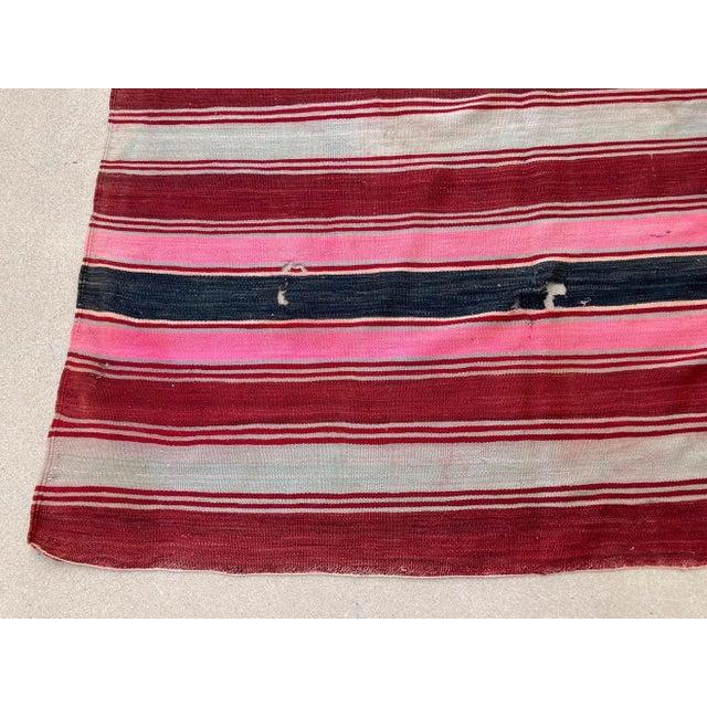 1960s Moroccan Vintage Flat-Weave Stripe Kilim Rug For Sale - Image 5 of 13