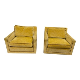 Vintage Yellow Upholstered Club Chairs - a Pair For Sale