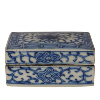 20th Century Chinese Blue and White Porcelain Ink Box For Sale
