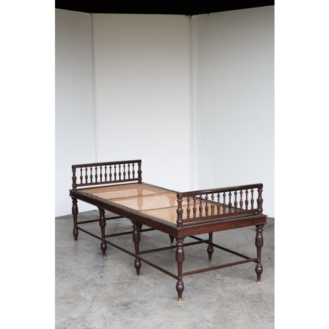 Antique Anglo-Indian Caned Daybed - Image 2 of 10