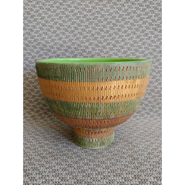 Bright Green Vintage Bitossi Italy Ceramic Footed Bowl For Sale - Image 8 of 8