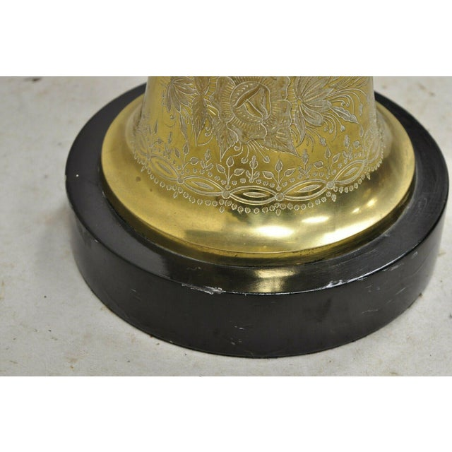 Vintage Brass Indian Moroccan Boho Chic Etched Brass Side Table Pole Floor Lamp For Sale - Image 11 of 13