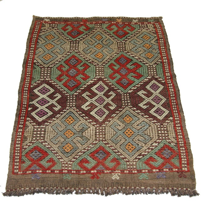 "Vintage Turkish Kilim - 3' X 3'5"" - Image 2 of 3"