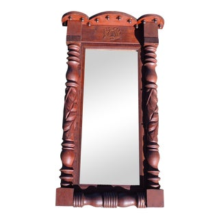 19th C Antique Victorian Pier Mirror Mahogany Baluster Mercury Glass Music Lyre For Sale