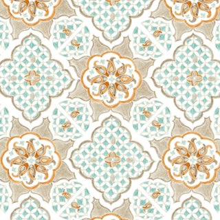 Ferran Ming Medallion Fabric, Sample, Ecru in Linen/Cotton For Sale