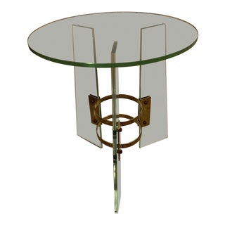 Italian Mid-Century Glass Occasional Table in the Style of Fontana Arte For Sale