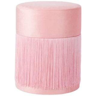 Pouf Pill Pink in Velvet Upholstery With Fringes For Sale